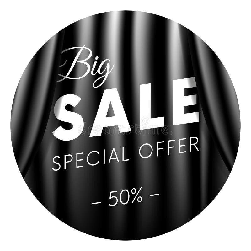 Stor försäljningsbaner eller klistermärke Specialt erbjudande femtio av procent Mörkret utformar Realistisk svart gardinbakgrund  vektor illustrationer