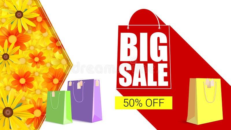 Stor försäljningsshoppingpåse med lång skugga Avfärda femtio procent på den gula knappbakgrunden med kulört, sälja banret vektor illustrationer