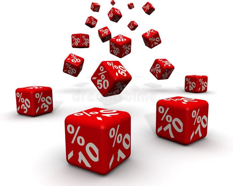 stor f?rs?ljning Röda försäljningskuber med procentrabatttecknet vektor illustrationer