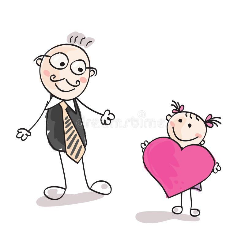 stor faderhjärta till stock illustrationer