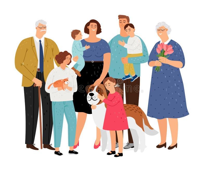 Stor familj med husdjuret stock illustrationer