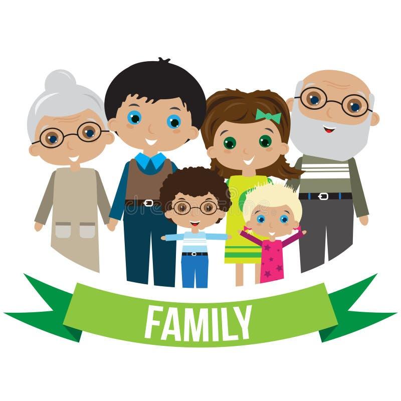 stor familjstående vektor illustrationer