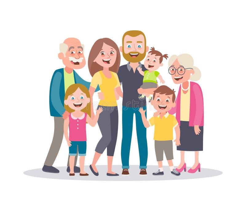 stor familjst?ende F?r?ldrar, barn och morf?r?ldrar vektor illustrationer