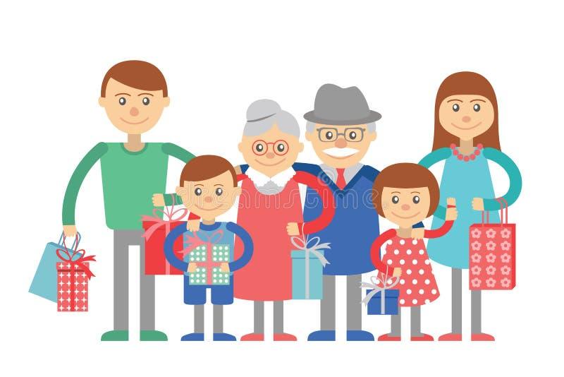 Stor familjvektorillustration på vit bakgrund royaltyfri illustrationer