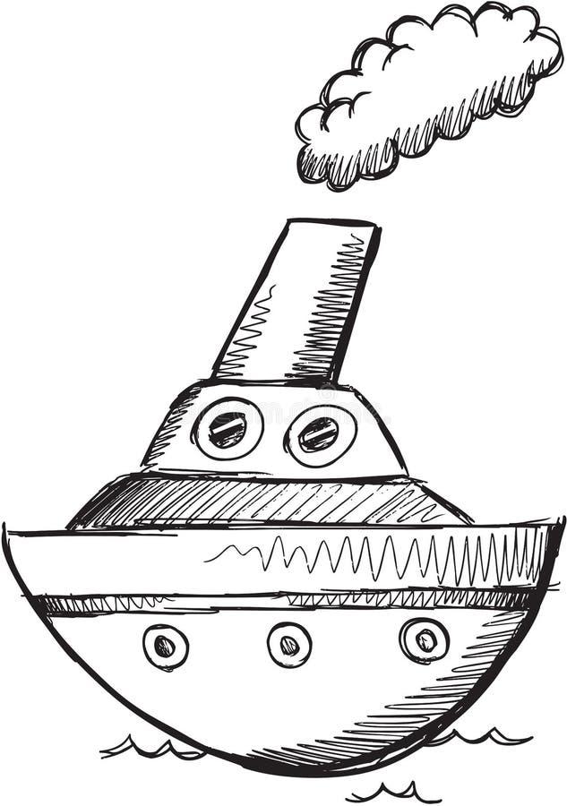 Stor fartygvektor för klotter vektor illustrationer