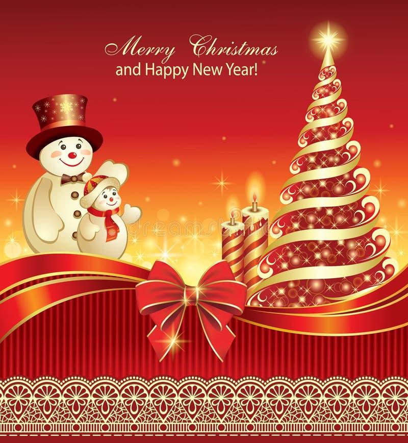 Stor festaffisch för nytt år med den dekorerade julgranen stock illustrationer