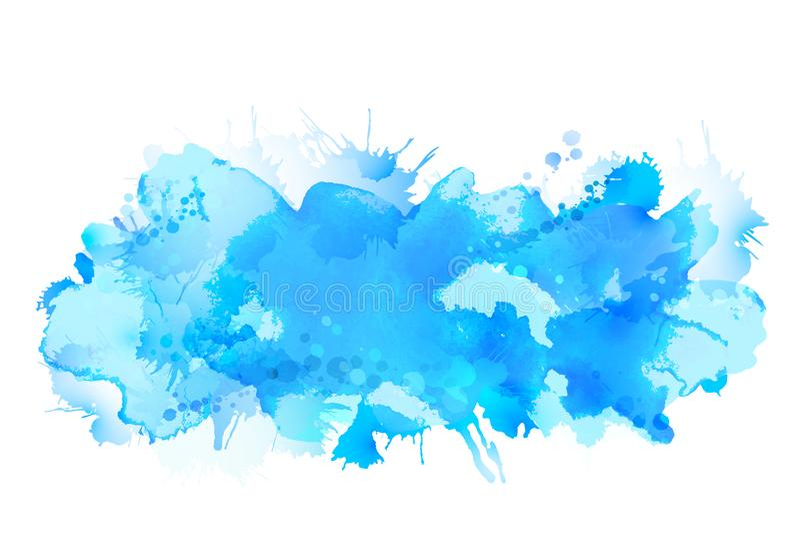 Stor fläckspridning för blå vattenfärg till den ljusa bakgrunden stock illustrationer