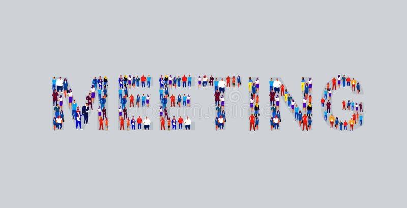 Stor folkmassa av businesspeople som visar som möter folk för ordformaffär som tillsammans står teamworkkonferensbegrepp stock illustrationer