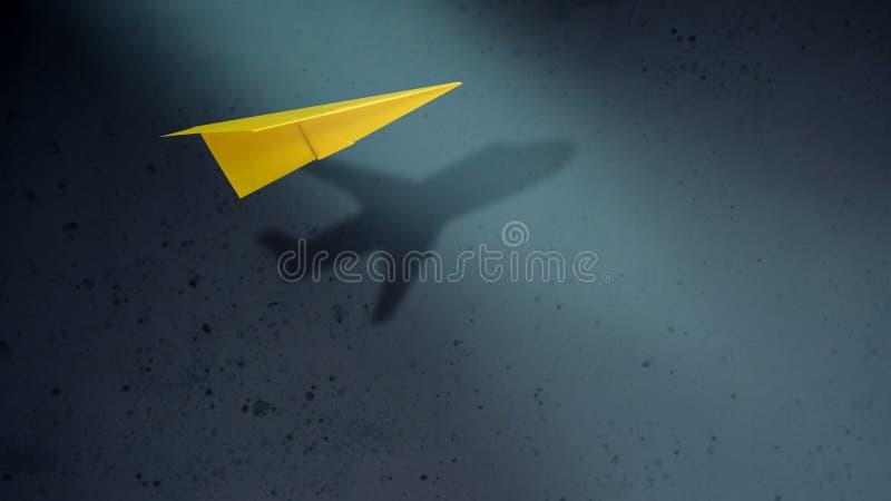 Stor funderare och motivation i affärsidé Pappers- flygplan Fl royaltyfria bilder