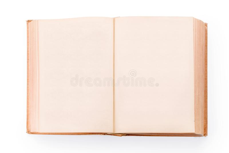 Stor gammal öppen bok med tomma sidor som isoleras med urklippbanan royaltyfri fotografi