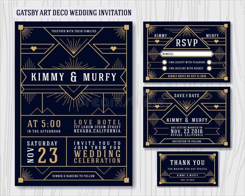 Stor Gatsby Art Deco Wedding Invitation Design mall vektor illustrationer