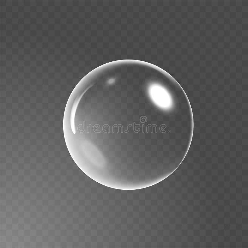 Stor genomskinlig glass sfär med ilskna blickar och skugga vektor för tvål för bubblaillustration realistisk Stordia endast i vek vektor illustrationer