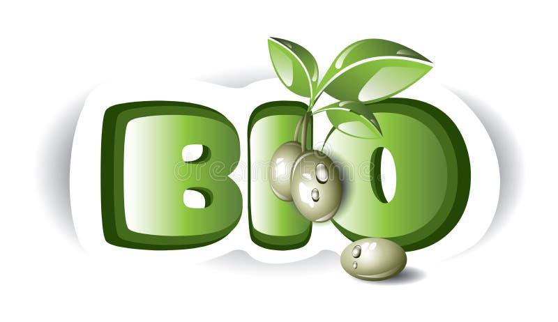 Bio oliv med etiketten stock illustrationer