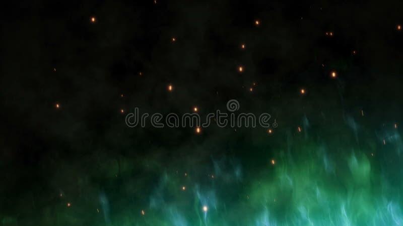 Stor grön magisk brand med varma gnistor stiger i natthimlen Brinnande flamma på en abstrakt bakgrund med ett ljus royaltyfri illustrationer