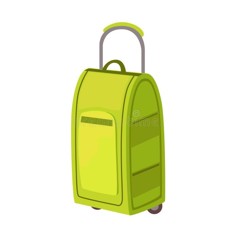 Stor grön resväska på hjul med det teleskopiska handtagobjektet från samling för bagagepåsetecknad film av tillbehör vektor illustrationer