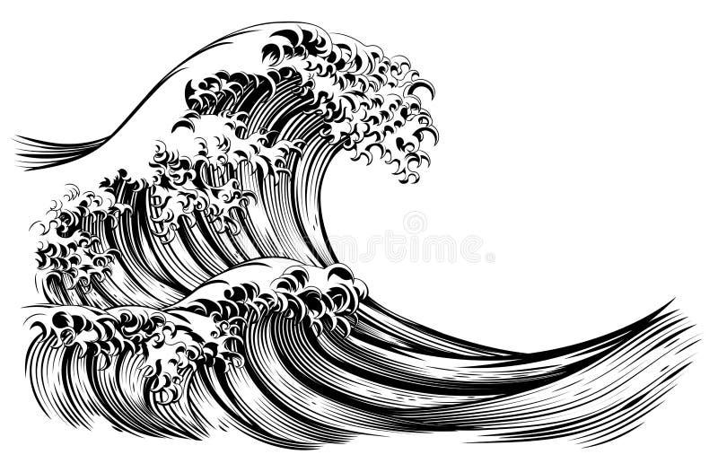 Stor gravyr för japansk stil för våg royaltyfri illustrationer