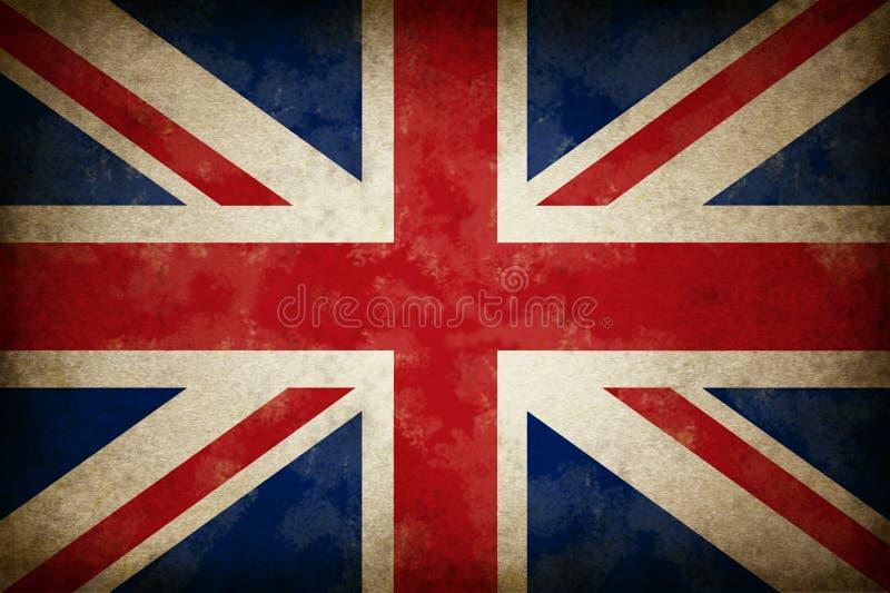stor grunge för britain flagga royaltyfri illustrationer