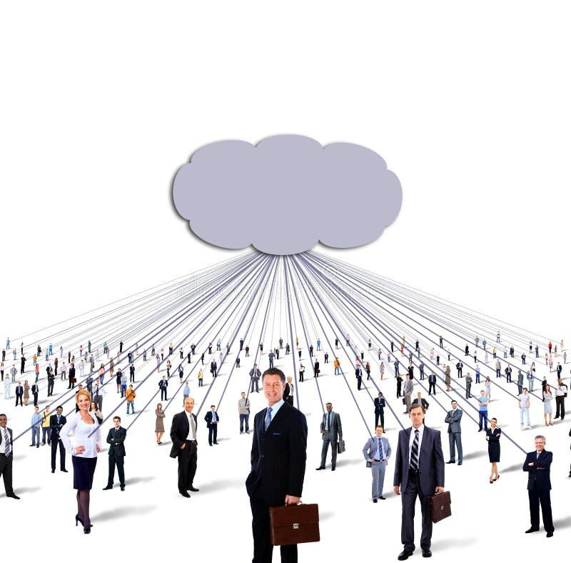 Stor grupp av det affärsfolk och molnet royaltyfri fotografi