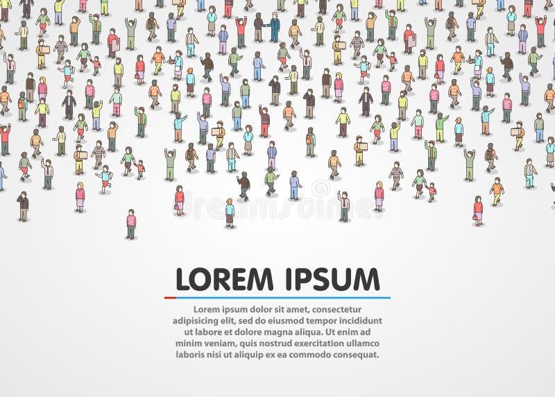 Stor grupp av isometriskt folk vektor illustrationer