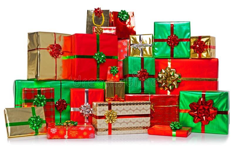 Stor grupp av julklappar royaltyfri bild