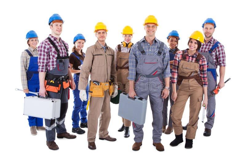 Stor grupp av olika arbetare royaltyfri bild