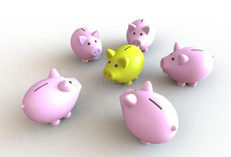 Stor grupp av rosa spargrisar med en gul ledare royaltyfri illustrationer