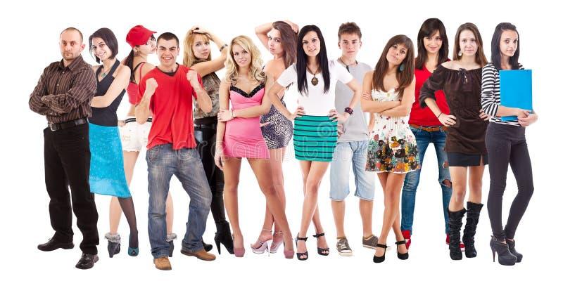 Stor grupp av ungdomar royaltyfri foto