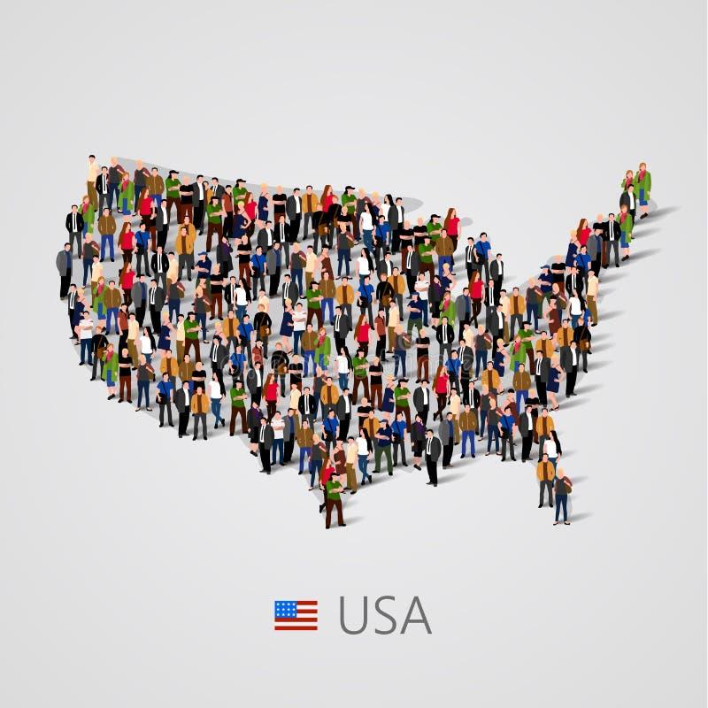 Stor grupp människor i Amerikas förenta stater eller USA översikt med infographicsbeståndsdelar vektor illustrationer