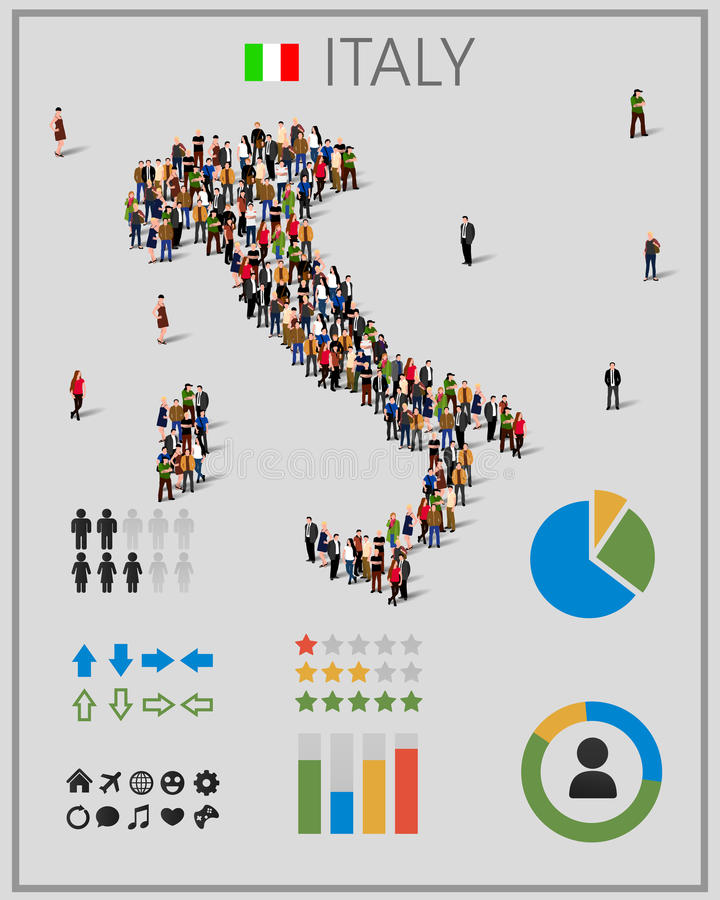 Stor grupp människor i form av den Italien översikten med infographicsbeståndsdelar royaltyfri illustrationer