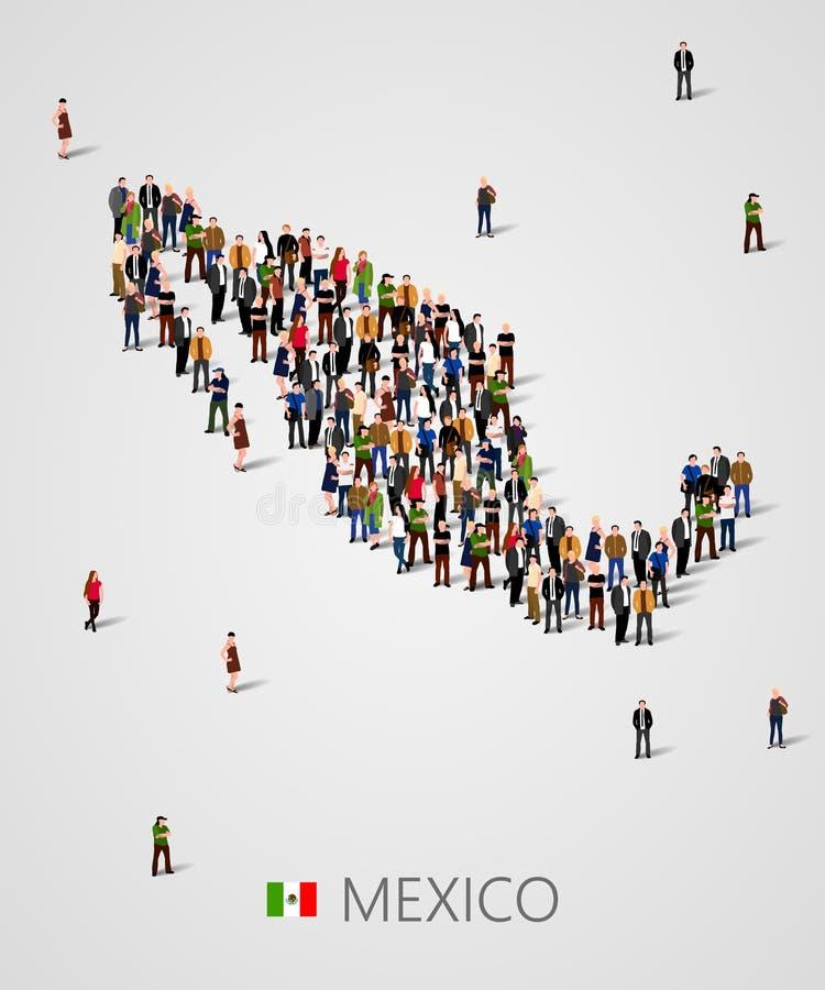 Stor grupp människor i form av den Mexico översikten Bakgrund för presentation vektor illustrationer