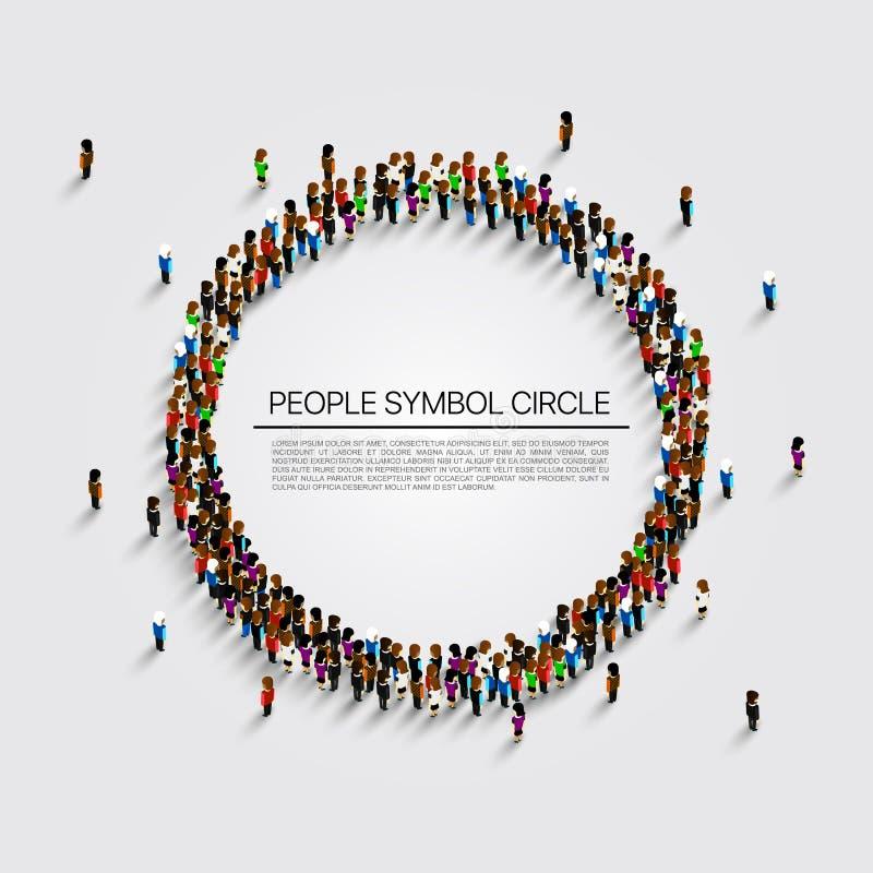 Stor grupp människor i formen av cirkeln också vektor för coreldrawillustration stock illustrationer