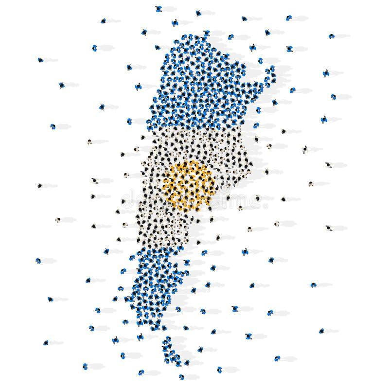 Stor grupp människor i formen av den Republiken Argentina flaggan arenaceous vektor illustrationer
