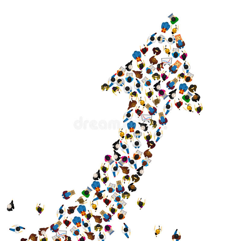 Stor grupp människor i formen av en tjäna pil, väg till framgångaffärsidéen, vektorillustration stock illustrationer