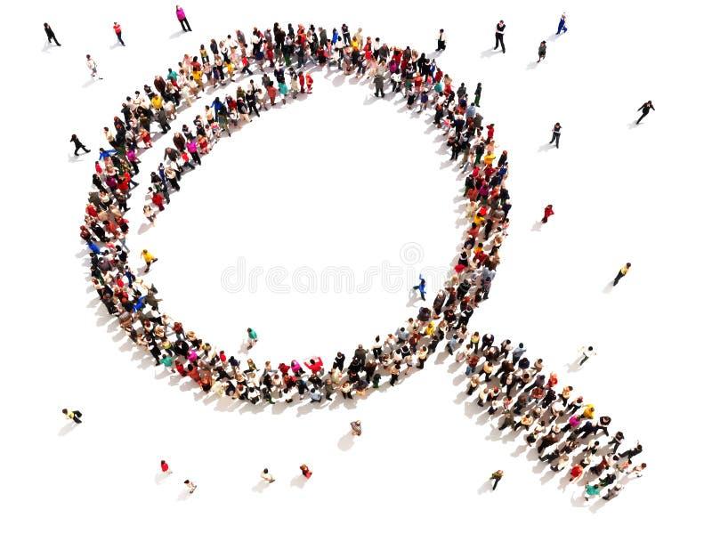 Stor grupp människor i formen av ett förstoringsglas stock illustrationer