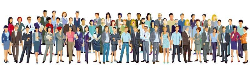 Stor grupp människor på vit bakgrund royaltyfri illustrationer