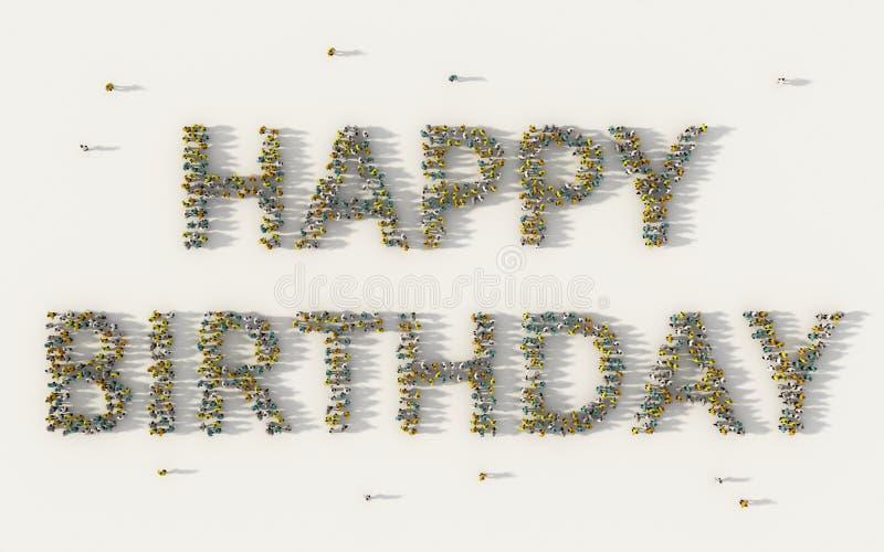 Stor grupp människor som bildar bokstävertext för lycklig födelsedag i socialt massmedia och gemenskapbegrepp på vit bakgrund tec royaltyfri illustrationer