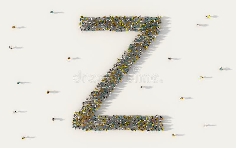 Stor grupp människor som bildar bokstav Z, huvudtexttecken för engelskt alfabet i socialt massmedia och gemenskapbegrepp på vit stock illustrationer