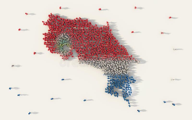 Stor grupp människor som bildar den Costa Rica översikten och nationsflaggan i socialt massmedia, och gemenskapbegrepp på vit bak vektor illustrationer
