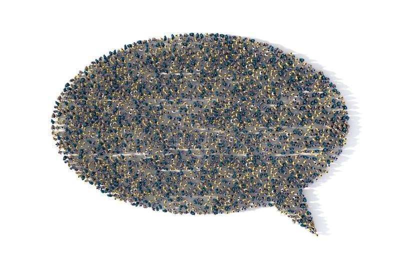 Stor grupp människor som bildar ett anförandebubblasymbol på vit royaltyfri illustrationer