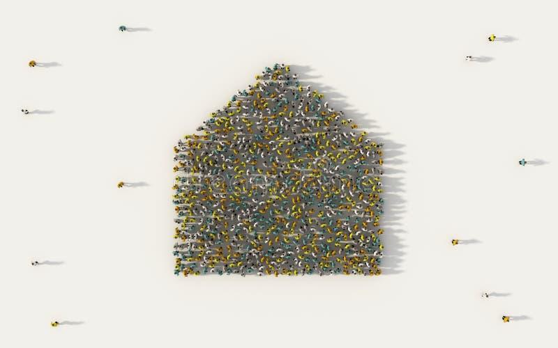 Stor grupp människor som bildar ett hem- eller hussymbol i socialt massmedia, och gemenskapbegrepp på vit bakgrund tecken 3d av f vektor illustrationer
