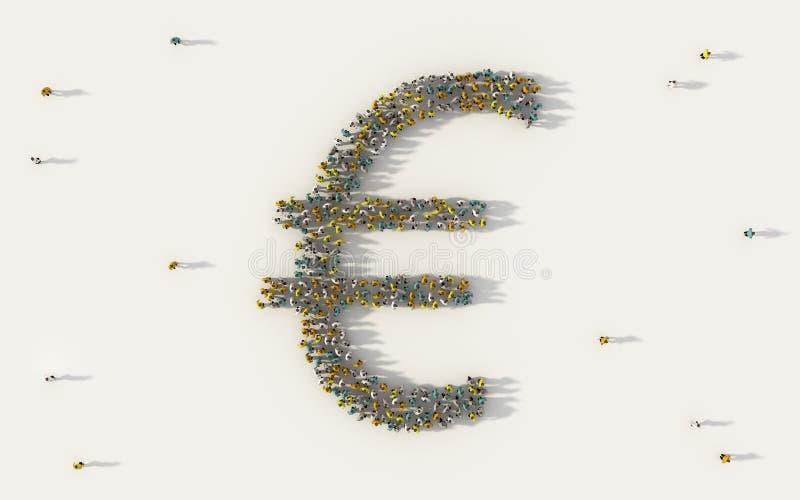 Stor grupp människor som bildar EUR-eurovaluta Pengarsymbol i affär, socialt massmedia och gemenskapbegrepp på vit bakgrund royaltyfri illustrationer