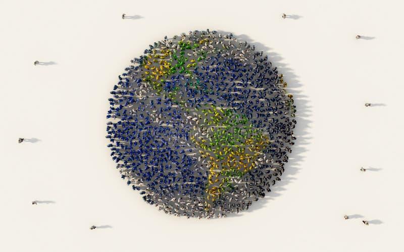 Stor grupp människor som bildar planetjord- eller världssymbolet i socialt massmedia, och gemenskapbegrepp på vit bakgrund tecken stock illustrationer