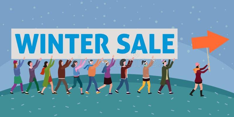 Stor grupp människor som framåtriktat kommer med vinterförsäljningstecknet vektor illustrationer