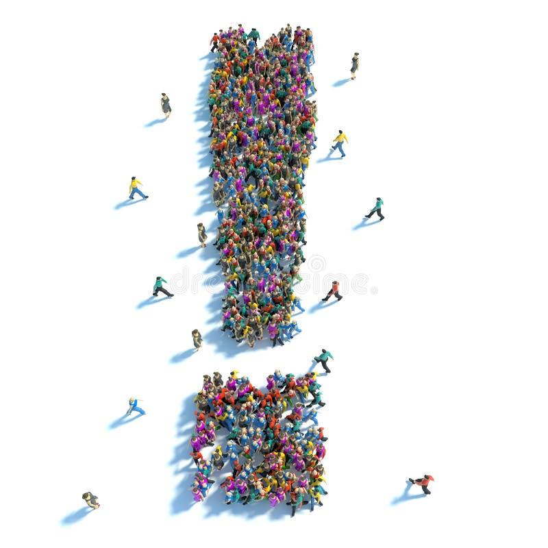 Stor grupp människor som stås i form av en utropstecken royaltyfri illustrationer