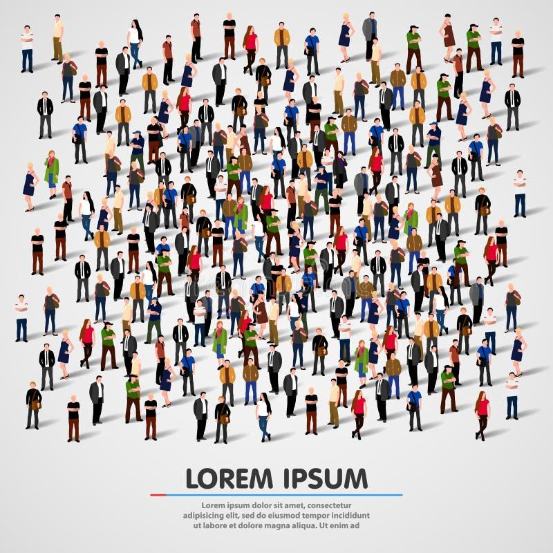 Stor grupp människor som trängas ihop på vit bakgrund royaltyfri illustrationer