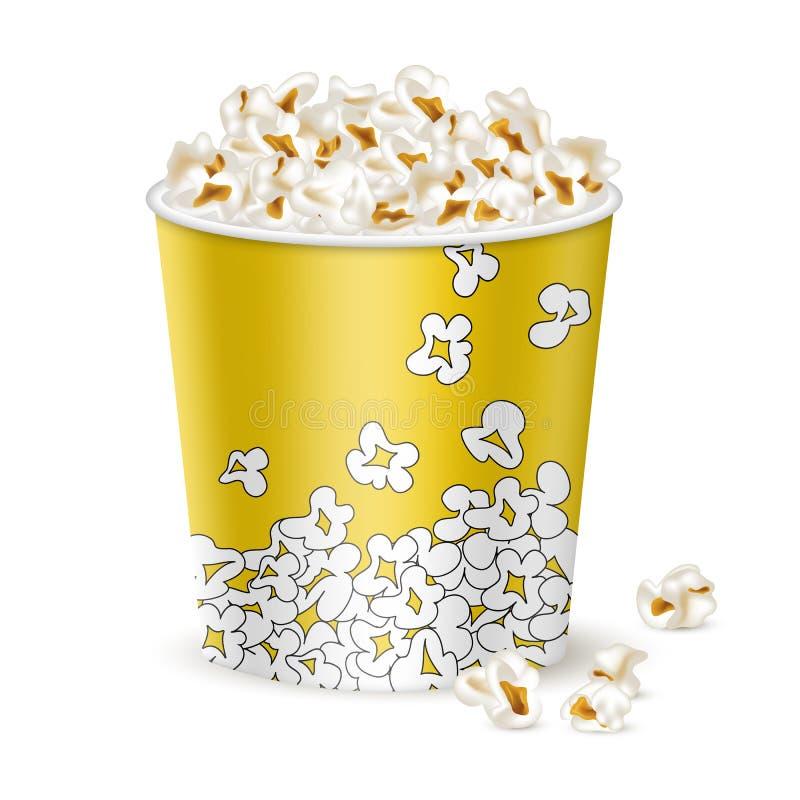 Stor gul hink med popcorn royaltyfri illustrationer