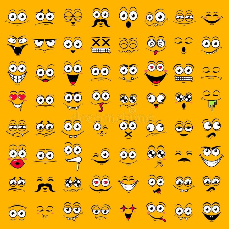 Stor gul uppsättning av gulliga lyckliga smiley sinnesrörelser, vektorillustration royaltyfri foto