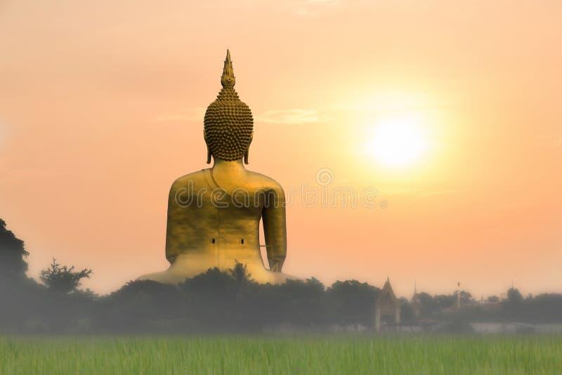Stor guld- buddha staty med solnedgång- eller soluppgångbakgrund royaltyfri bild