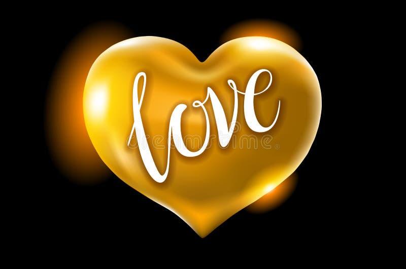 Stor guld- hjärta på en svart bakgrund vektorberömballonger blänker design för illustration 3d för ditt hälsningkort, invit stock illustrationer