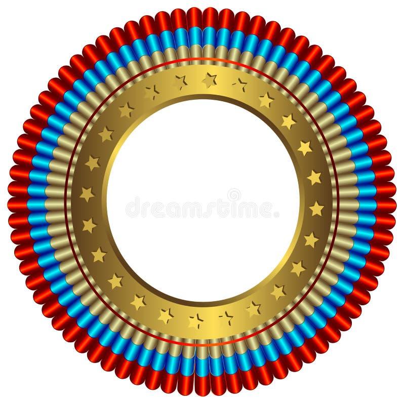 stor guld- medaljcirkel royaltyfri illustrationer